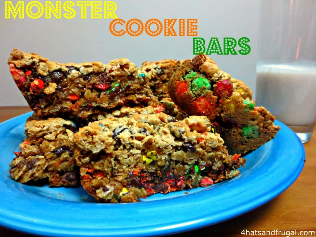 Monster Cookie Bars - 4 Hats and Frugal