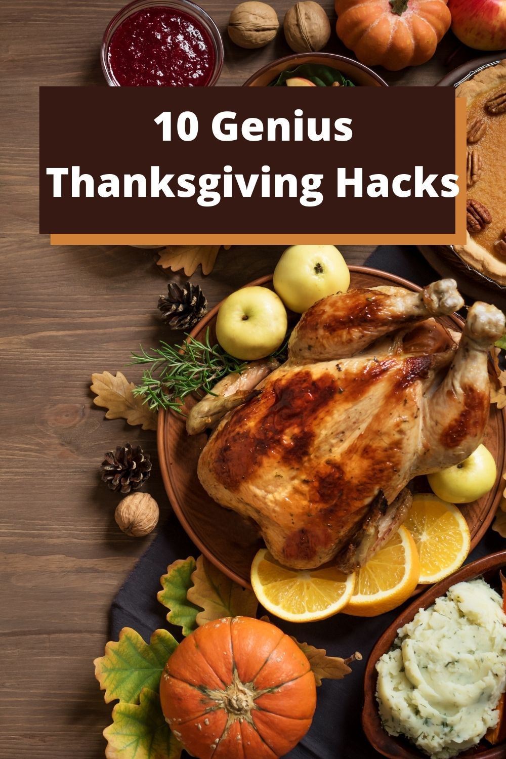 A table full of Thanksgiving food for a post about first thanksgiving dinner hacks that will keep you sane on the big day.