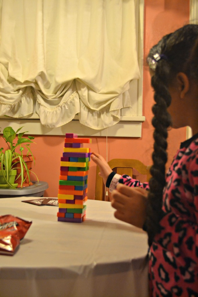 Playing Jenga Tetris at our annual girls night in