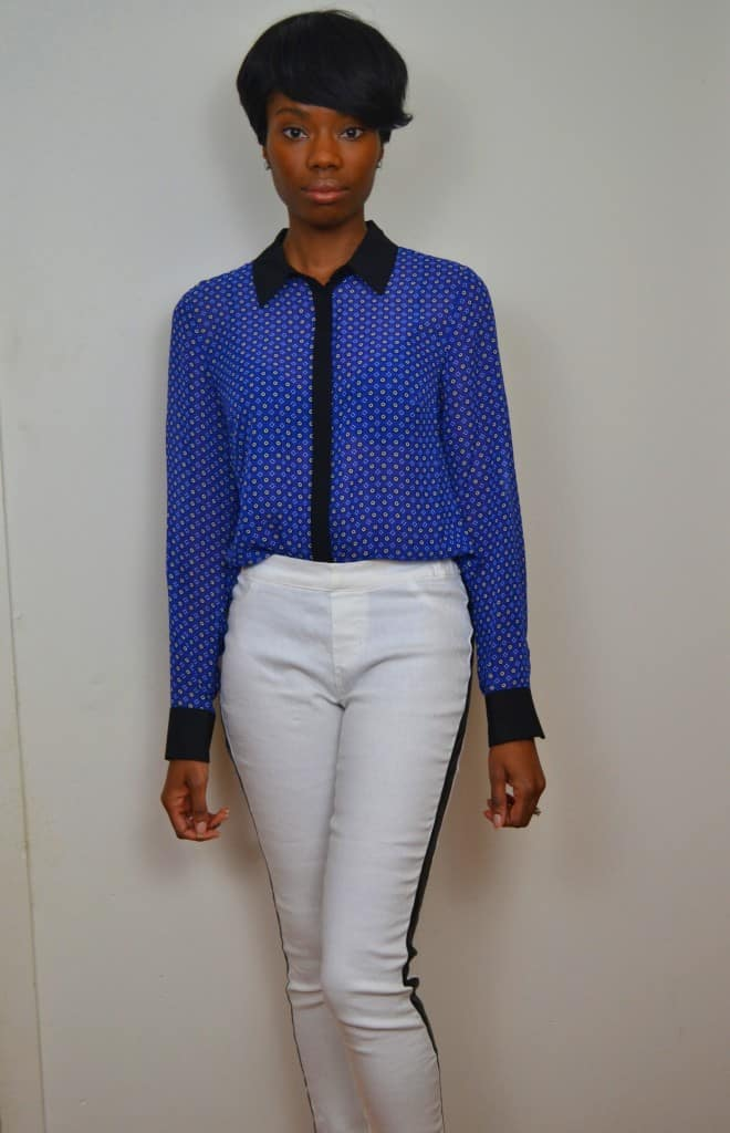 contrast collar shirt with white tuxedo pants #ThisIsStyle #cbias #shop