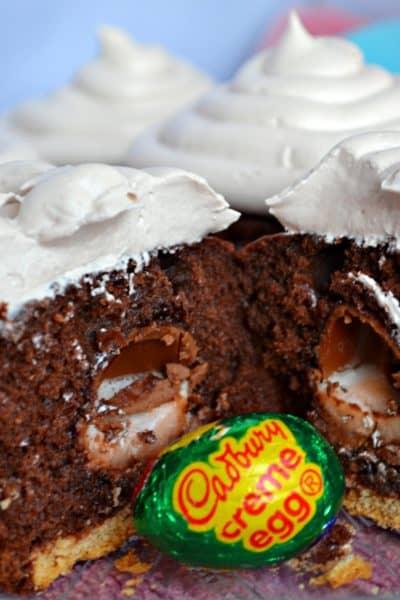 easter cupcakes, cadbury creme eggs, chocolate cupcakes