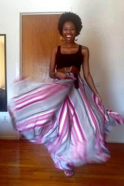 black, white and hot pink chiffon maxi skirt