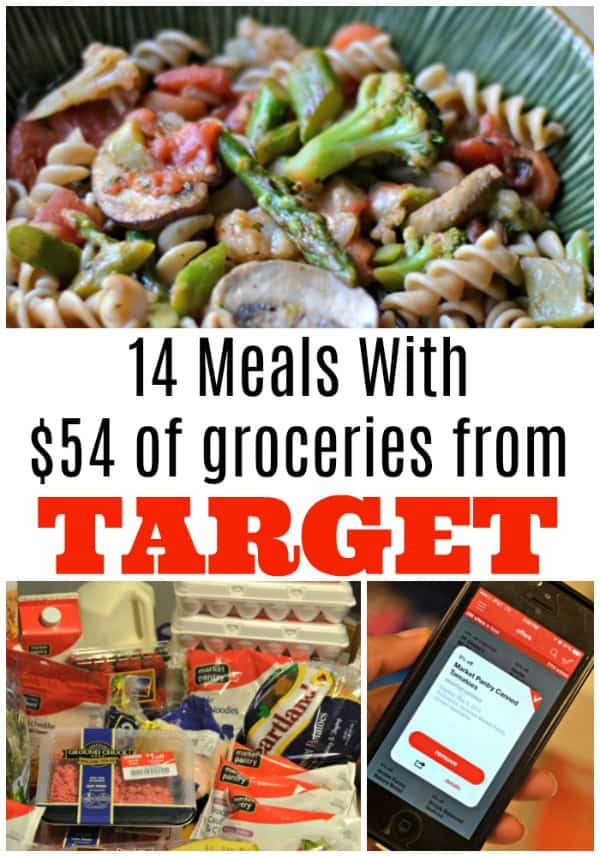 See how a 64 dollar grocery budget at Target can yield 14 meal ideas, including breakfast, lunch and dinner, for a whole week and more.