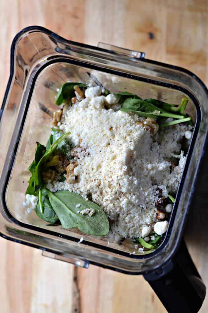 A recipe for garlic creamy pesto with no cream! She shares a really cool trick to help you accomplish this.