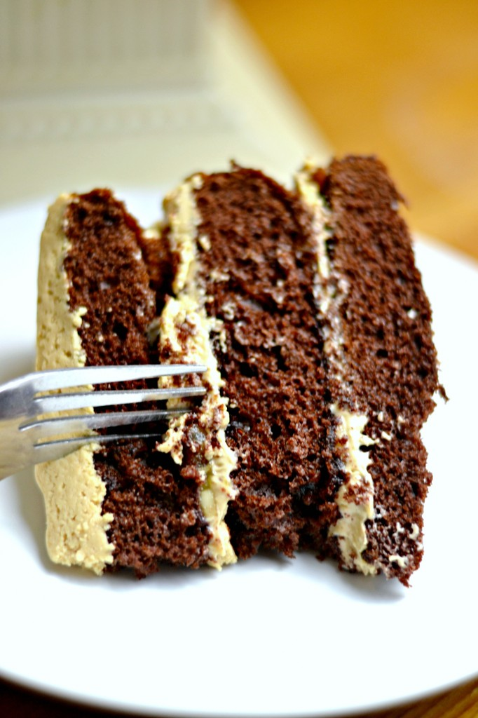 This recipe for chocolate sour cream cake with peanut butter frosting will take care of any chocolate craving you may have!