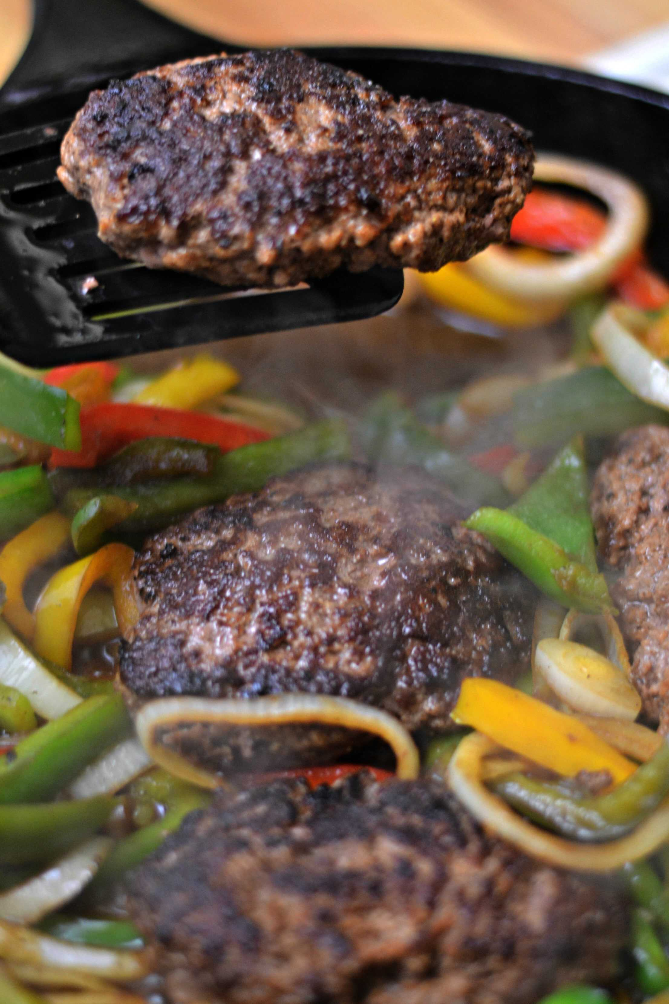 steak hamburger easy meals cheap weeknight dinner recipe gravy vegetables bit onions frugal recipes simple meal frozen perfect ingredients peppers