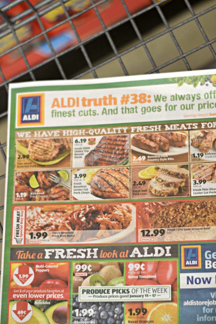 Looking to use your grocery budget wisely at Aldi? Check out how this blogger used her 64 dollar grocery budget at the famous chain store.