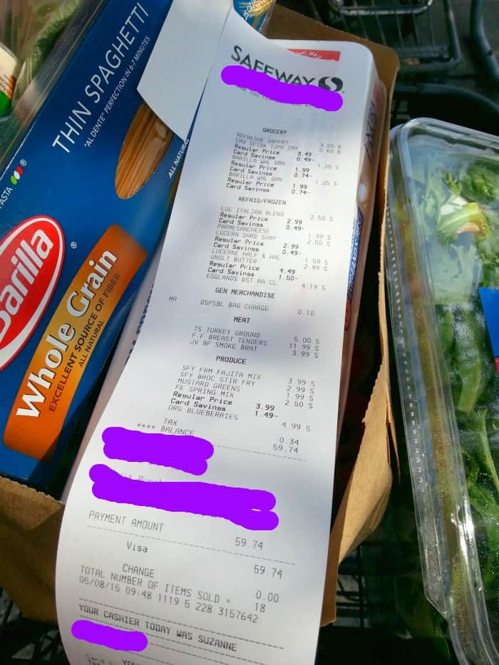 This mom shares how to stretch a 64 dollar grocery budget at Safeway, and still make healthy meals for her family of 3.