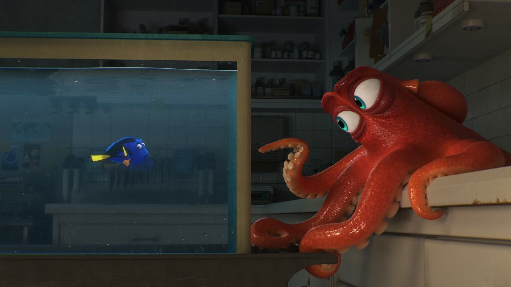 "DO I KNOW YOU? -- In Disney•Pixar's ""Finding Dory,"" everyone's favorite forgetful blue tang, Dory (voice of Ellen DeGeneres), encounters an array of new—and old—acquaintances, including a cantankerous octopus named Hank (voice of Ed O'Neill). Directed by Andrew Stanton (""Finding Nemo,"" ""WALL•E"") and produced by Lindsey Collins (co-producer ""WALL•E""), ""Finding Dory"" swims into theaters June 17, 2016.."