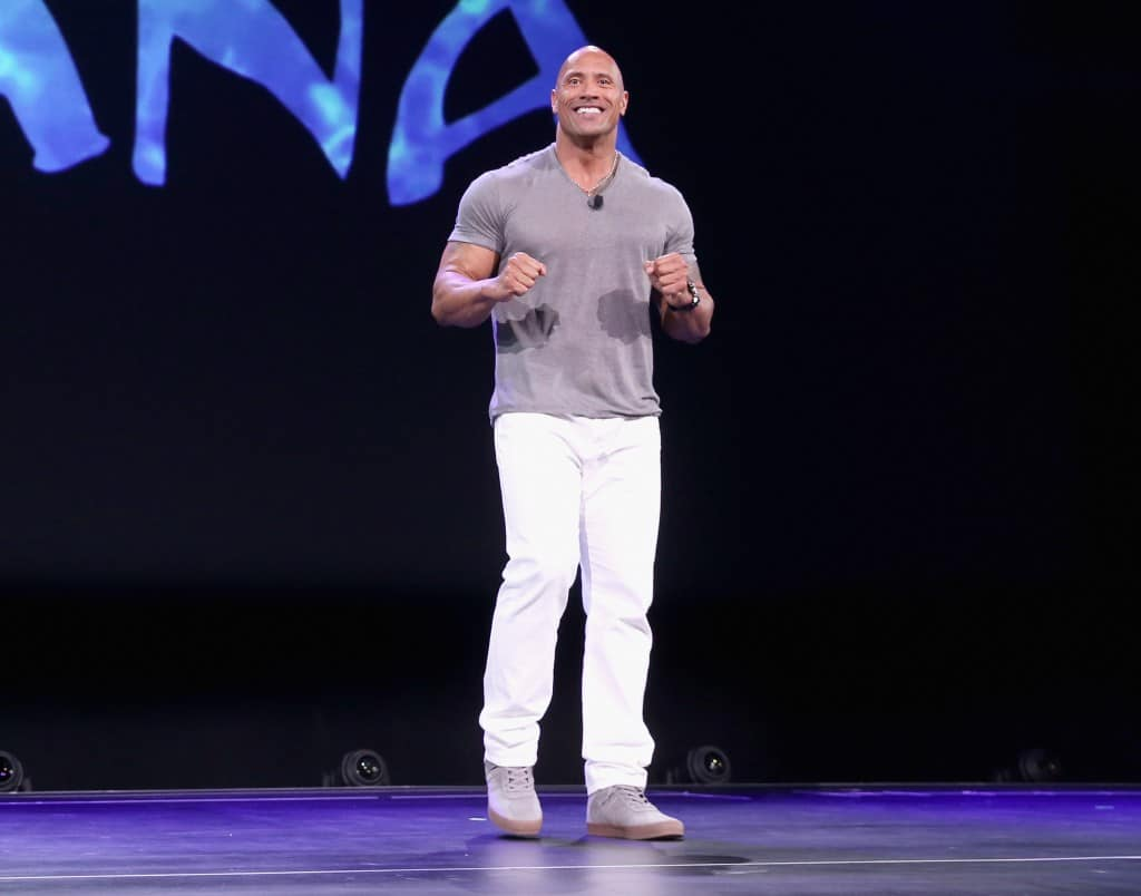 "ANAHEIM, CA - AUGUST 14:  Actor Dwayne Johnson of MOANA took part today in ""Pixar and Walt Disney Animation Studios: The Upcoming Films"" presentation at Disney's D23 EXPO 2015 in Anaheim, Calif.  (Photo by Jesse Grant/Getty Images for Disney) *** Local Caption *** Dwayne Johnson"