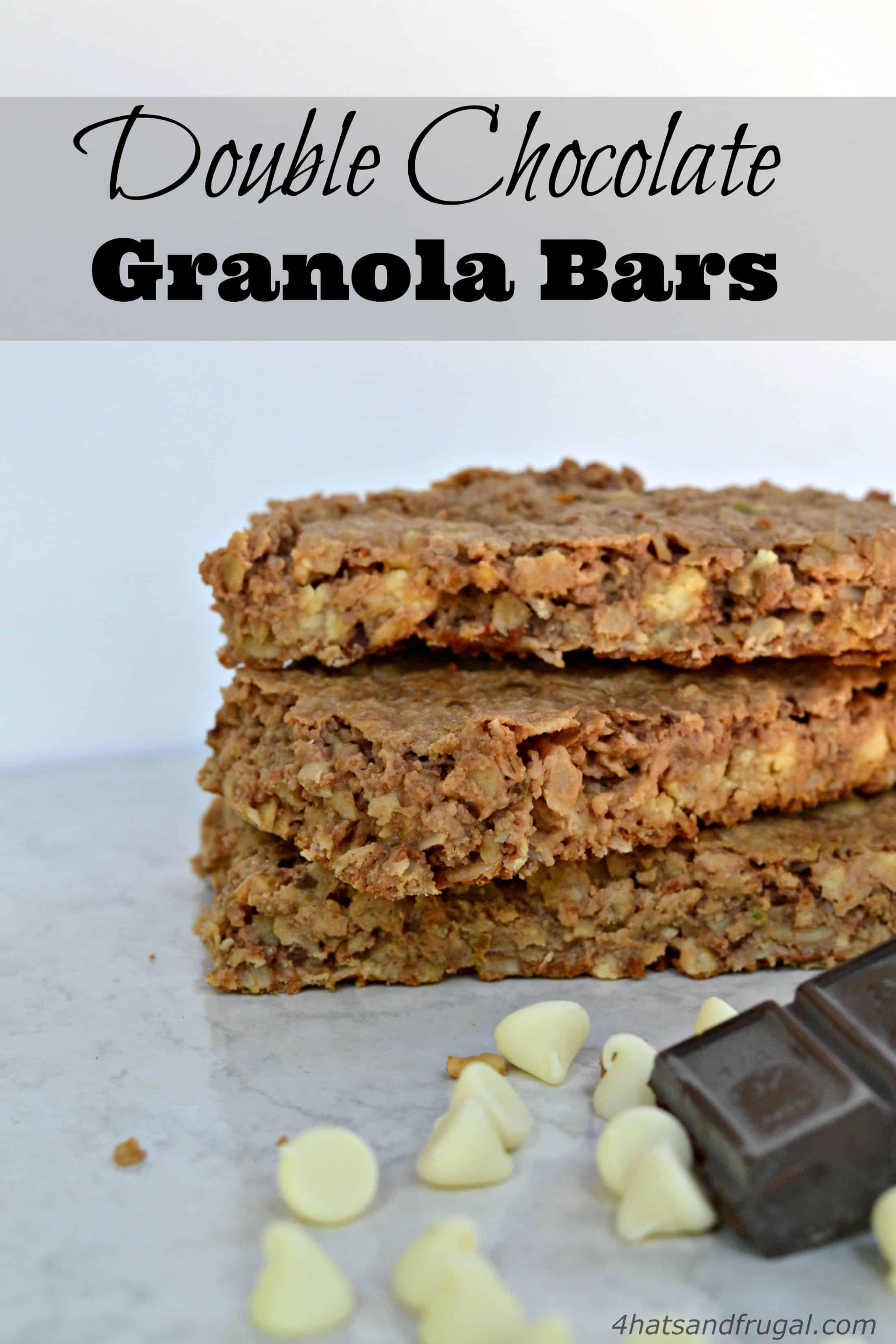 This super easy recipe for double chocolate granola bars takes less than 20 minutes to make.