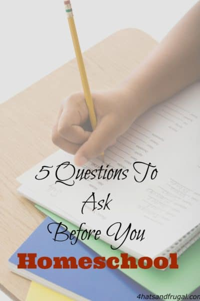 You need to ask the right questions before you take on the big task of homeschooling. Here are 5 questions to ask before you homeschool.