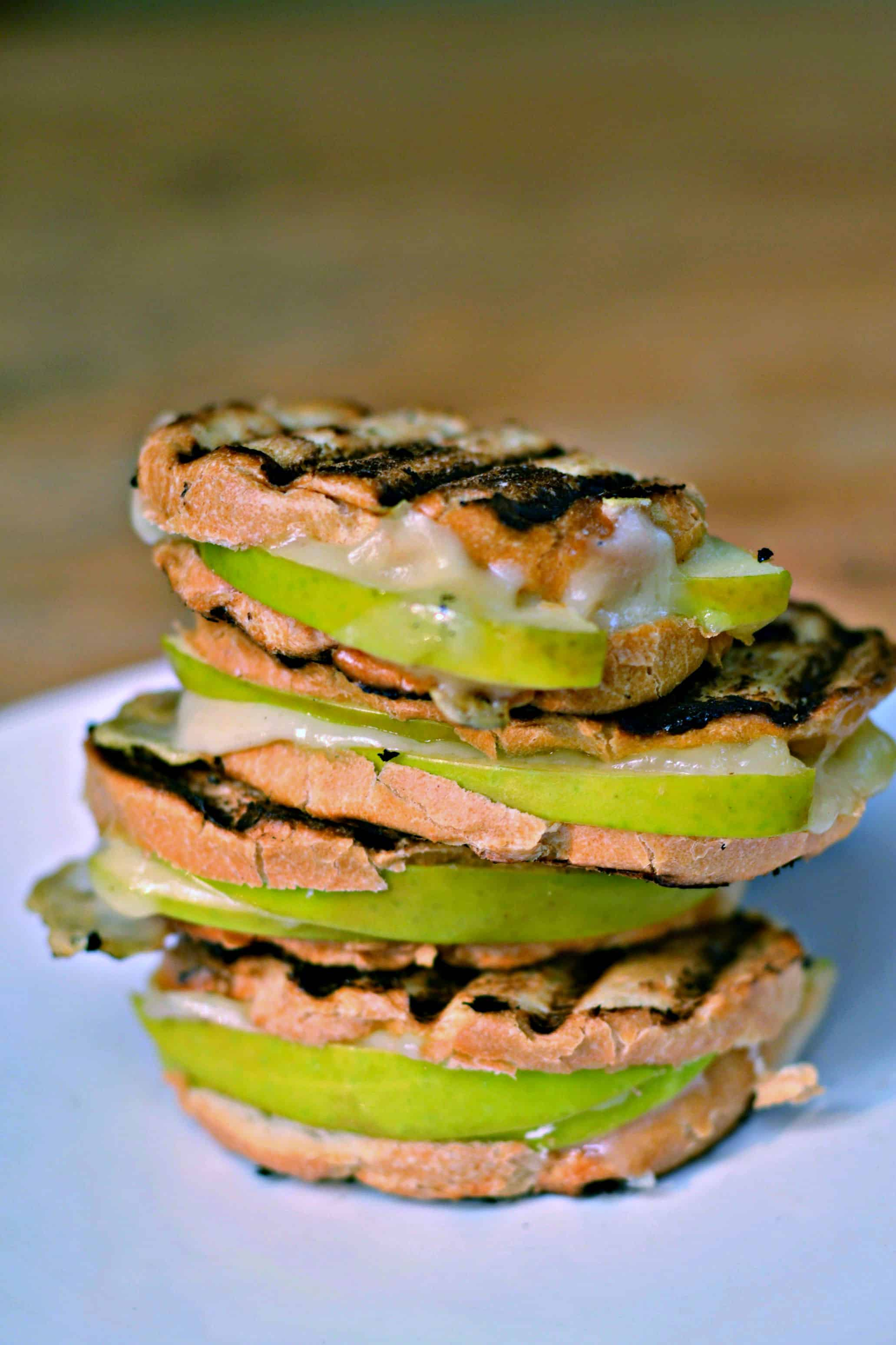 Looking for an easy apple appetizer? These mini apple swiss panini sandwiches are just right!