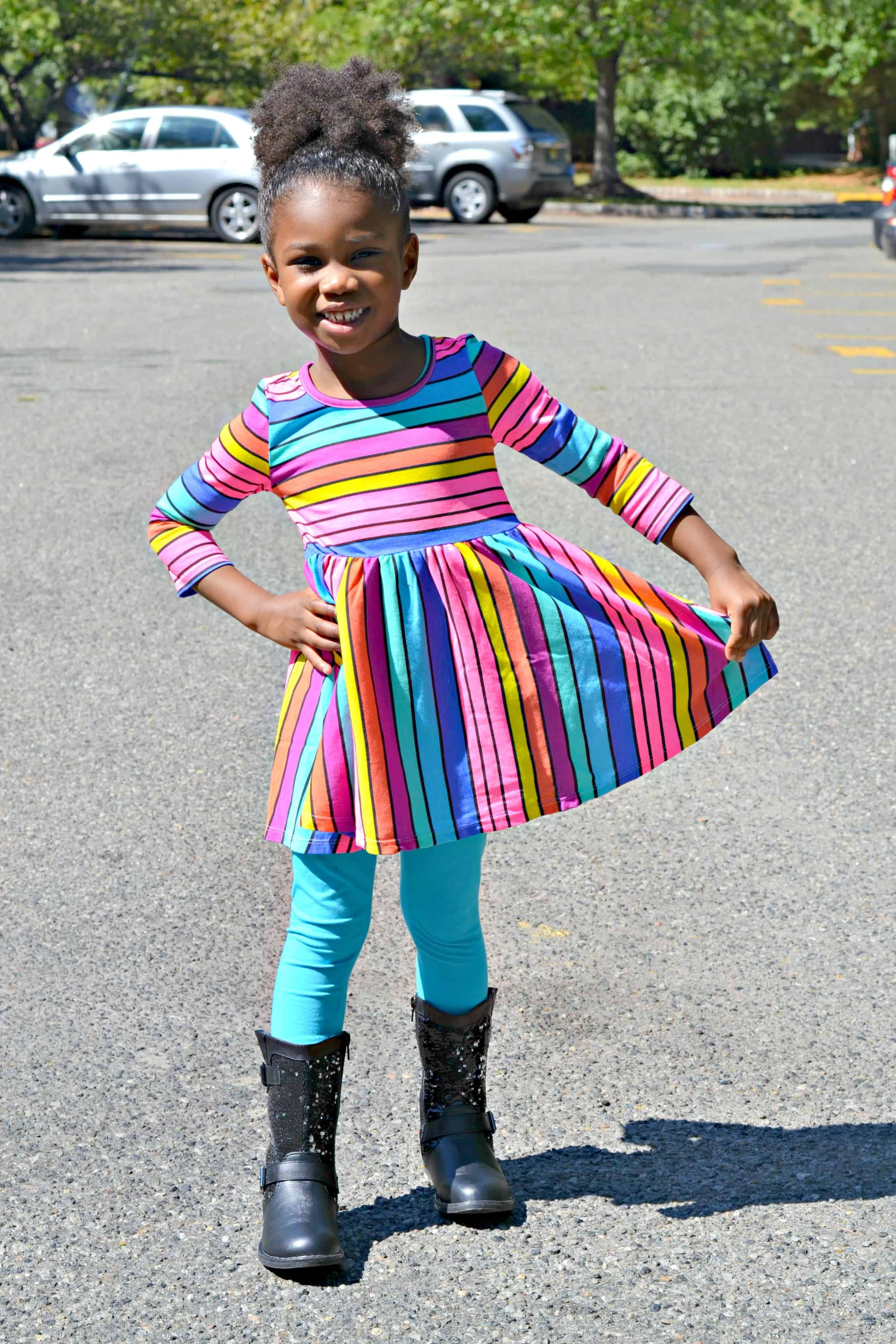 788291269 Colorful Striped Dress Just for Girls - 4 Hats and Frugal