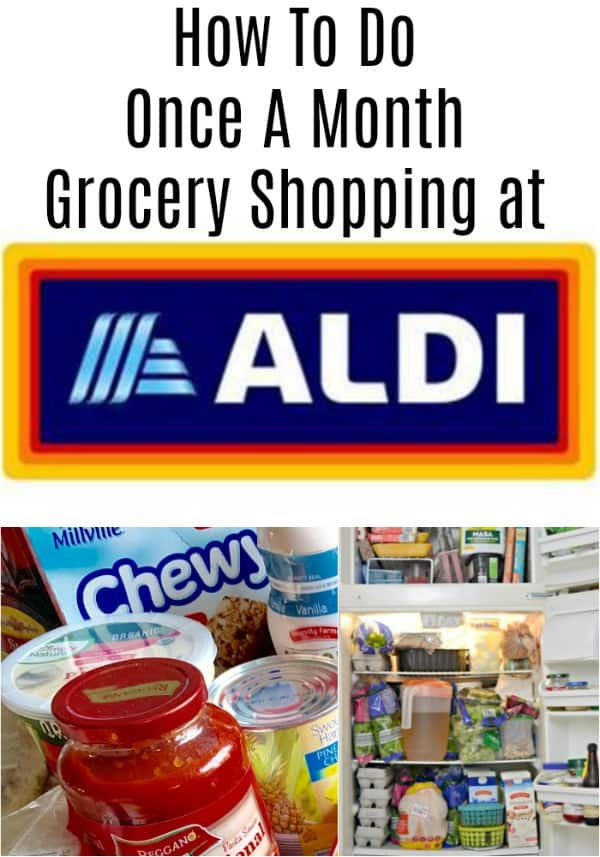 This wife and mom of 3 tried once a month grocery shopping at ALDI on a tight grocery budget. See what she bought, her grocery list, and the meals she made.