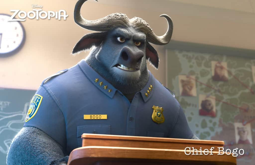ZOOTOPIA – CHIEF BOGO, head of the Zootopia Police Department. ©2015 Disney. All Rights Reserved.