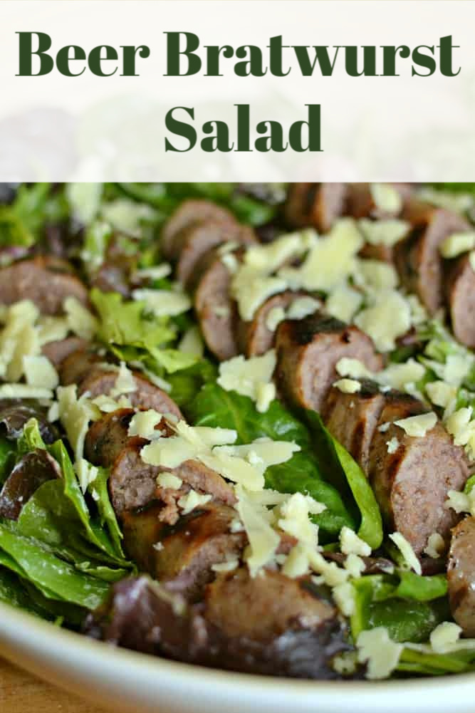 This Beer Bratwurst Salad is so easy! Perfect for grilling season, or a hearty and healthy weeknight meal. Use white cheddar to make it even more delicious.