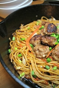 This Asian Spaghetti and Meatballs recipe is a great use of ground pork, and it's an easy, fast meal! #sponsored