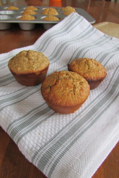 These Gluten Free Peanut Butter Chocolate Chip Muffins are so easy to make, and use items right in your pantry. Click through for a free Gluten Free e-cookbook!