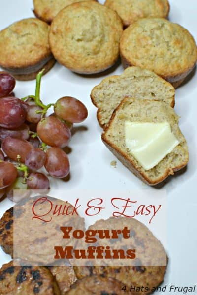 This easy yogurt muffins recipe is perfect for busy mornings, and the perfect partner for fully cooked Johnsonville sausage. #SausageFamily #sponsored