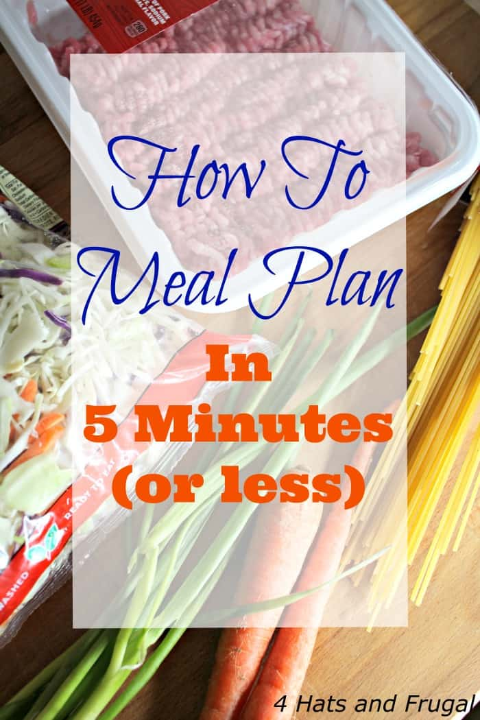 This busy mom of 3 shares how to meal plan in 5 minutes or less, and even have time to plan breakfasts and lunches for the week!