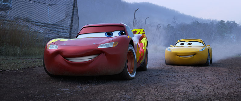 """ROAD TO VICTORY — When faced with a new generation of racers who threaten to derail his career, Lightning McQueen (voice of Owen Wilson) teams up with tech-savvy, unconventional trainer Cruz Ramirez (voice of Cristela Alonzo) to find his way back to the top. Directed by Brian Fee, produced by Kevin Reher and co-produced by Andrea Warren, Disney•Pixar's """"Cars 3"""" opens in U.S. theaters on June 16, 2017. ©2017 Disney•Pixar. All Rights Reserved."""
