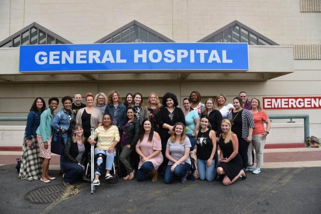 General Hospital set visit group
