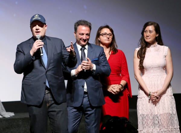 (L-R) President of Marvel Studios Kevin Feige and executive producers Louis D'Esposito, Victoria Alonso and Trinh Tran attend the Los Angeles Global Premiere for Marvel Studios' Avengers: Infinity War on April 23, 2018 in Hollywood, California.