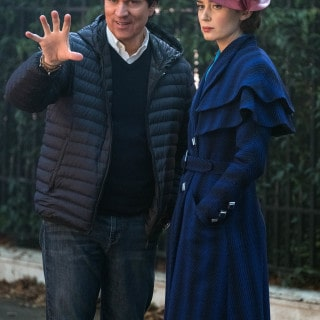 Rob Marshall and Emily Blunt on the set of Disney's MARY POPPINS RETURNS, a sequel to the 1964 film MARY POPPINS, which takes audiences on an entirely new adventure with the practically perfect nanny and the Banks family.
