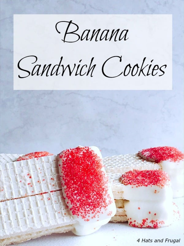 These banana sandwich cookies are a perfect no-bake treat for Valentine's Day, or any day you want to make something fun for the banana lover in your life.