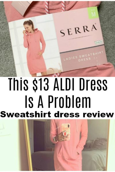 Have you seen the ALDI sweatshirt dress at your store? Well, it's a problem. We're sharing the big deal about this ALDI dress, and sizing suggestions.