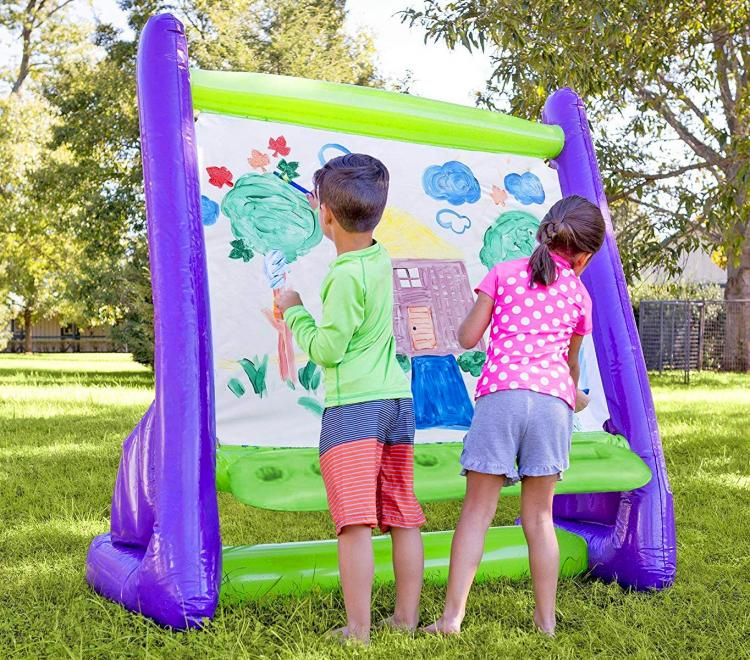 Whoa! This inflatable outdoor easel is going to be a HIT with the kids this spring and summer! Check out all it can do, and it's affordable price.