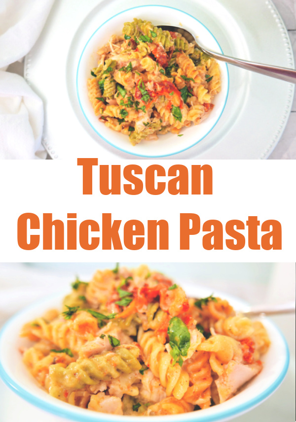 This Tuscan chicken pasta dinner feels fancy, so it's perfect to make when entertaining or for a date night. It has 4 different cheeses!